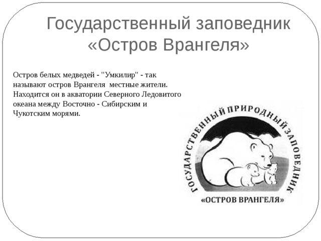 """Государственный заповедник «Остров Врангеля» Остров белых медведей - """"Умкилир..."""