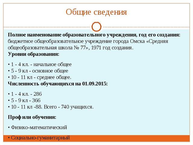 Общие сведения Полное наименование образовательного учреждения, год его созда...