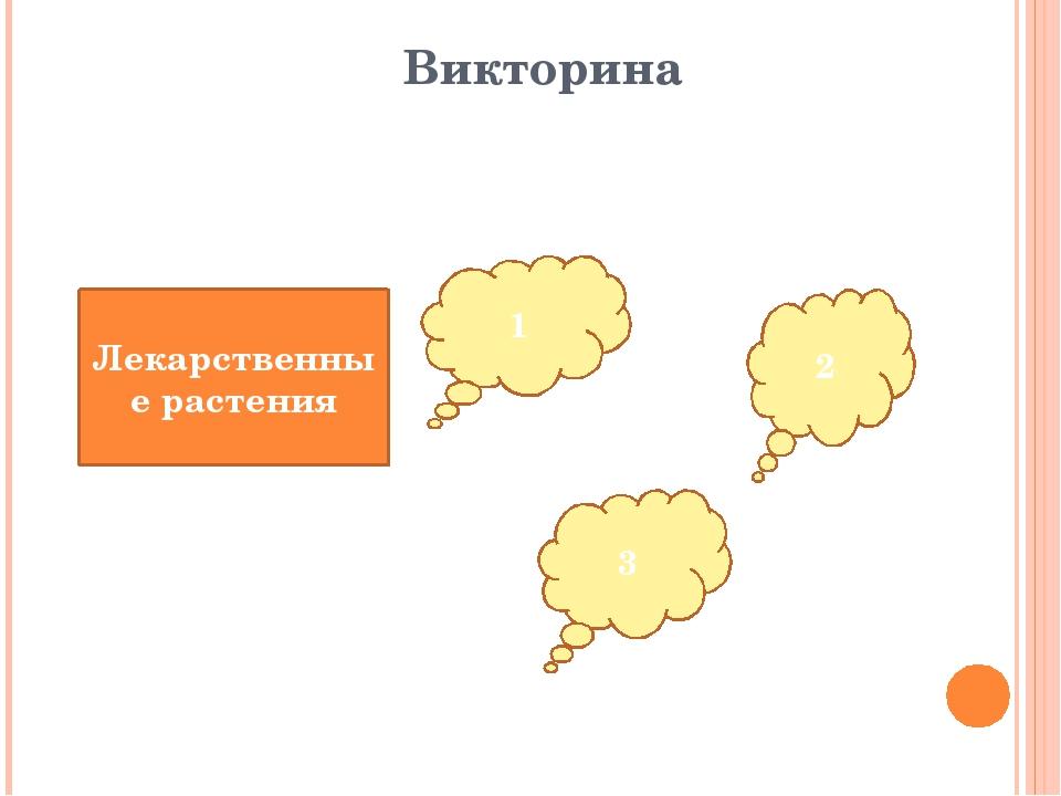 Викторина Лекарственные растения 1 2 3