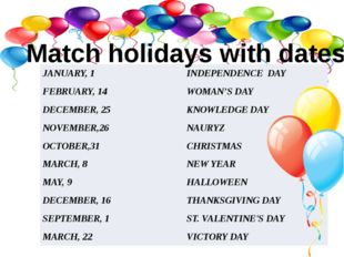 Match holidays with dates JANUARY, 1 INDEPENDENCE DAY FEBRUARY, 14 WOMAN'S DA