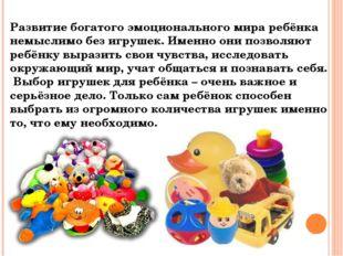 Развитие богатого эмоционального мира ребёнка немыслимо без игрушек. Именно о