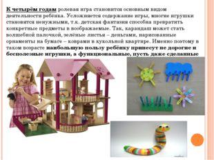 К четырём годамролевая игра становится основным видом деятельности ребёнка.