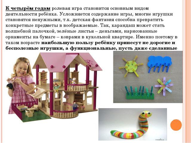 К четырём годамролевая игра становится основным видом деятельности ребёнка....