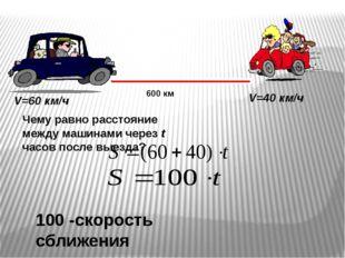 600 км V=60 км/ч V=40 км/ч Чему равно расстояние между машинами через t часов