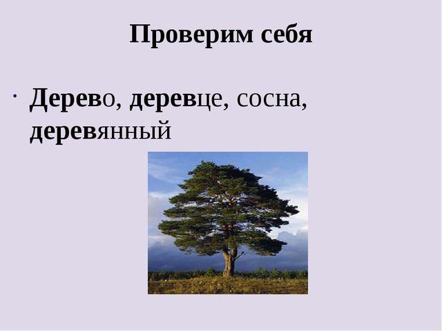 Проверим себя Дерево, деревце, сосна, деревянный
