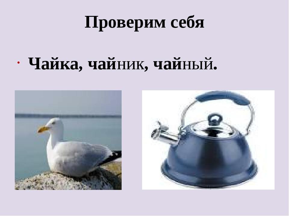 Проверим себя Чайка, чайник, чайный.