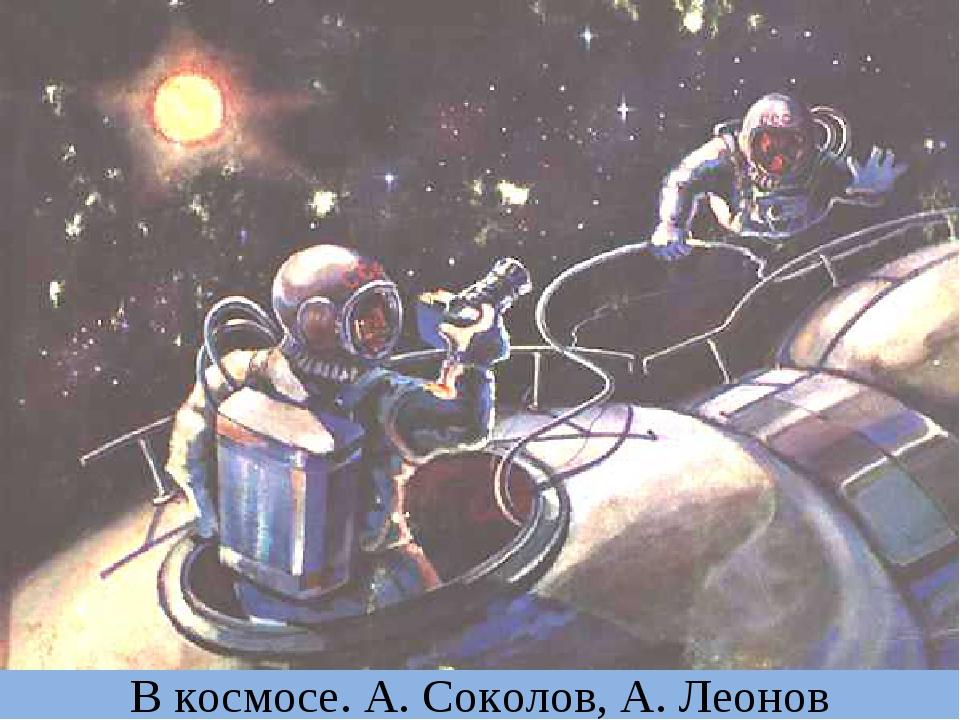 В космосе. А. Соколов, А. Леонов