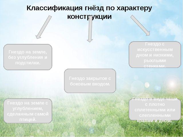Классификация гнёзд по характеру конструкции Гнездо на земле, без углубления...