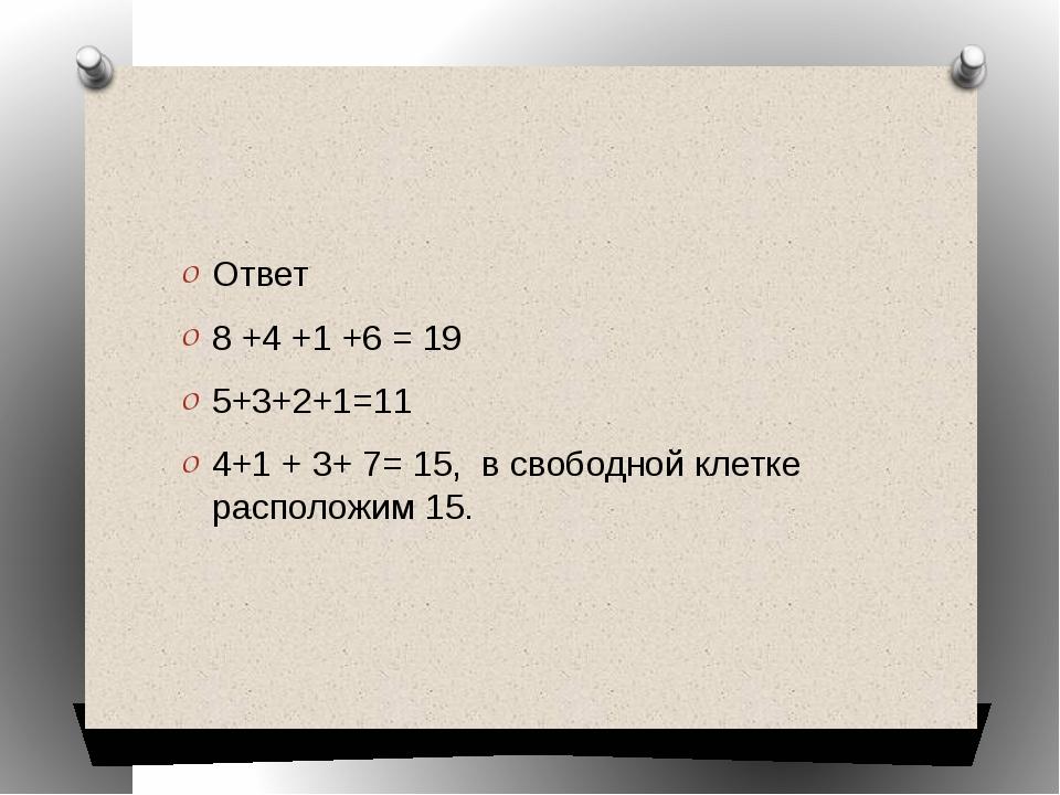 Ответ 8 +4 +1 +6 = 19 5+3+2+1=11 4+1 + 3+ 7= 15, в свободной клетке располож...
