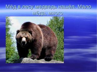 Мёд в лесу медведь нашёл. Мало мёда, много