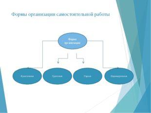 Формы организации самостоятельной работы Групповая Парная Фронтальная Индивид