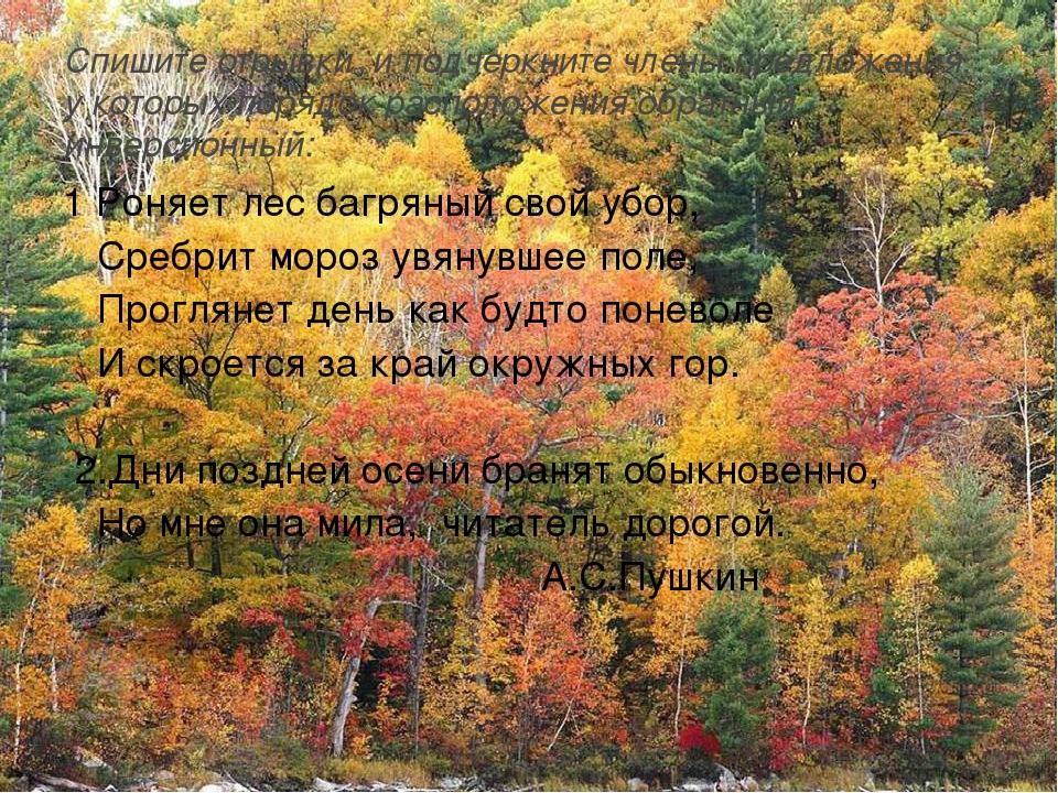 1 Роняет лес багряный свой убор,  Сребрит мороз увянувшее поле,  Проглянет...