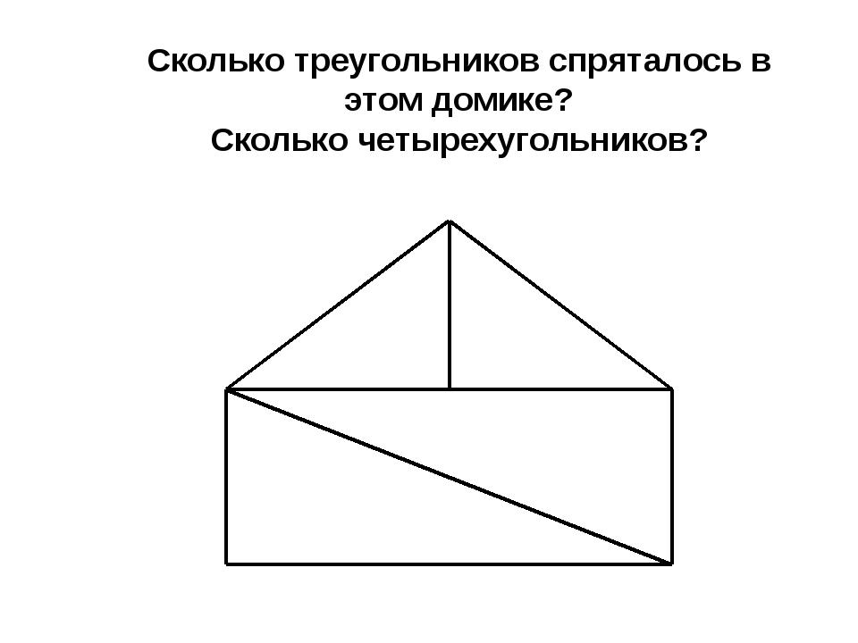 Сколько треугольников спряталось в этом домике? Сколько четырехугольников?
