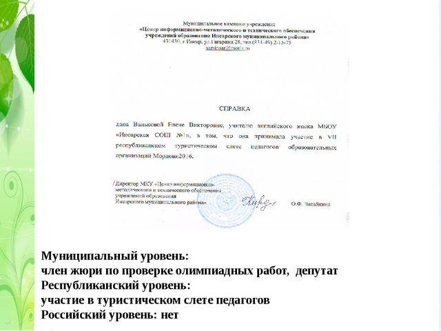 Муниципальный уровень: член жюри по проверке олимпиадных работ, депутат Респу...