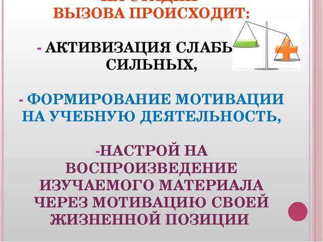 НА СТАДИИ ВЫЗОВА ПРОИСХОДИТ: - АКТИВИЗАЦИЯ СЛАБЫХ И СИЛЬНЫХ, - ФОРМИРОВАНИЕ...