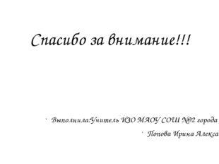 Спасибо за внимание!!! Выполнила:Учитель ИЗО МАОУ СОШ №92 города Тюмени Попов