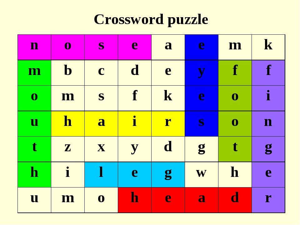 Crossword puzzle noseaemk mbcdeyff omsfkeoi uhairs...