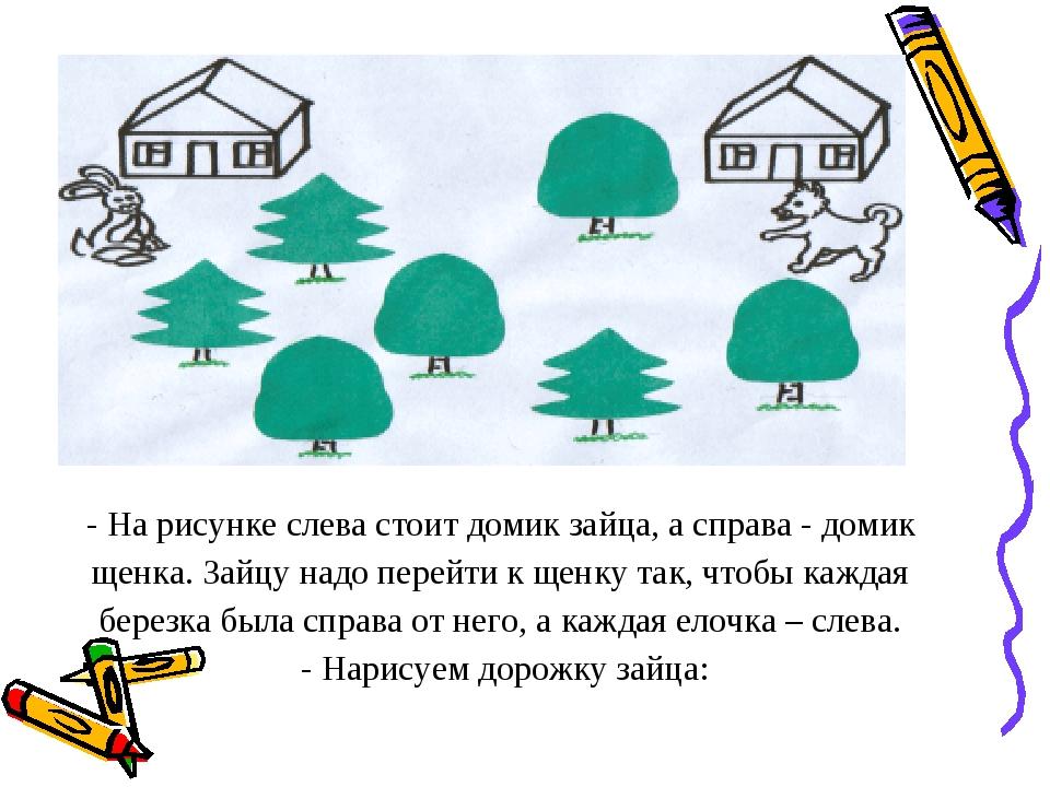 - На рисунке слева стоит домик зайца, а справа - домик щенка. Зайцу надо пере...