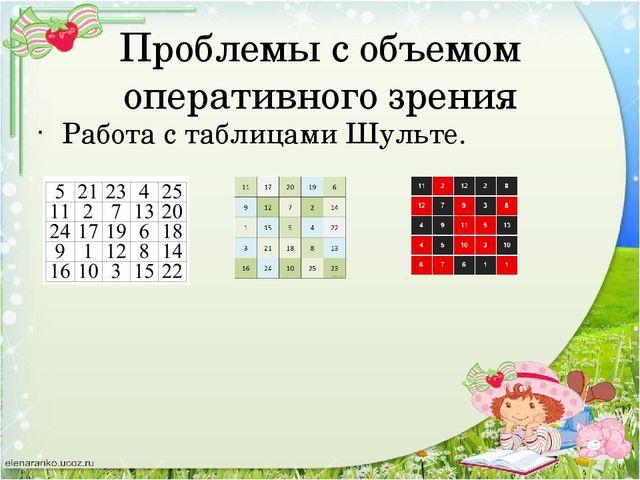 Проблемы с объемом оперативного зрения Работа с таблицами Шульте.