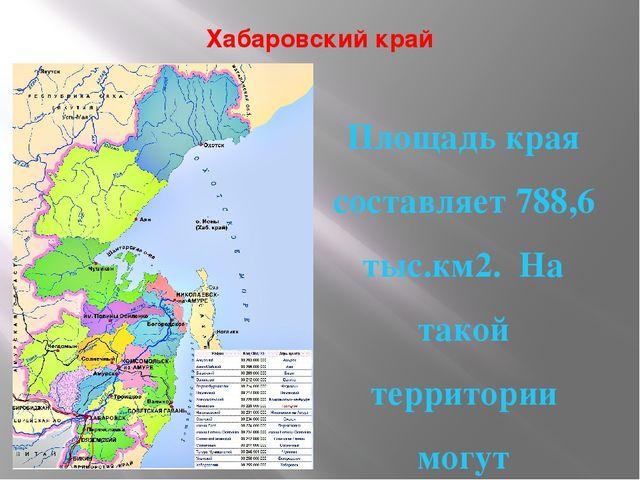 Хабаровский край Площадь края составляет 788,6 тыс.км2. На такой территории м...