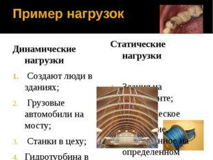 Пример нагрузок Динамические нагрузки Создают люди в зданиях; Грузовые автомо