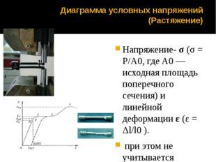 Диаграмма условных напряжений (Растяжение) Напряжение-σ(σ = P/A0, где A0—