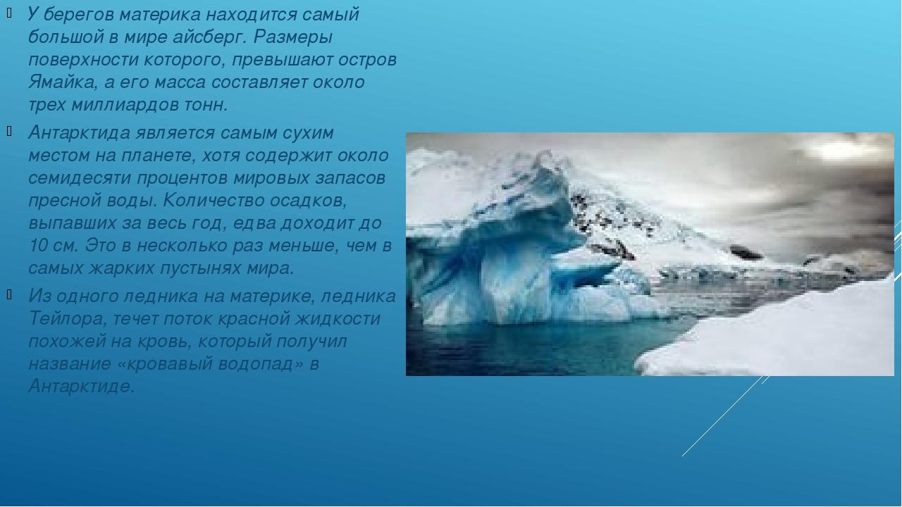 У берегов материка находится самый большой в мире айсберг. Размеры поверхнос...