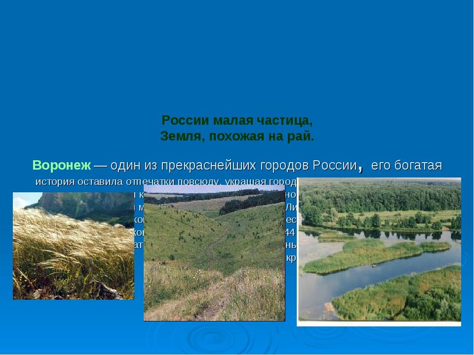 России малая частица, Земля, похожая на рай. Воронеж— один из прекраснейших...