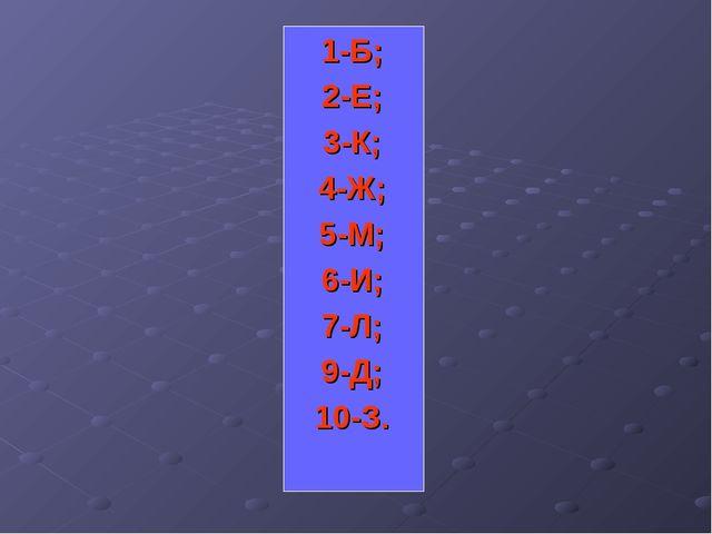 1-Б; 2-Е; 3-К; 4-Ж; 5-М; 6-И; 7-Л; 9-Д; 10-З.