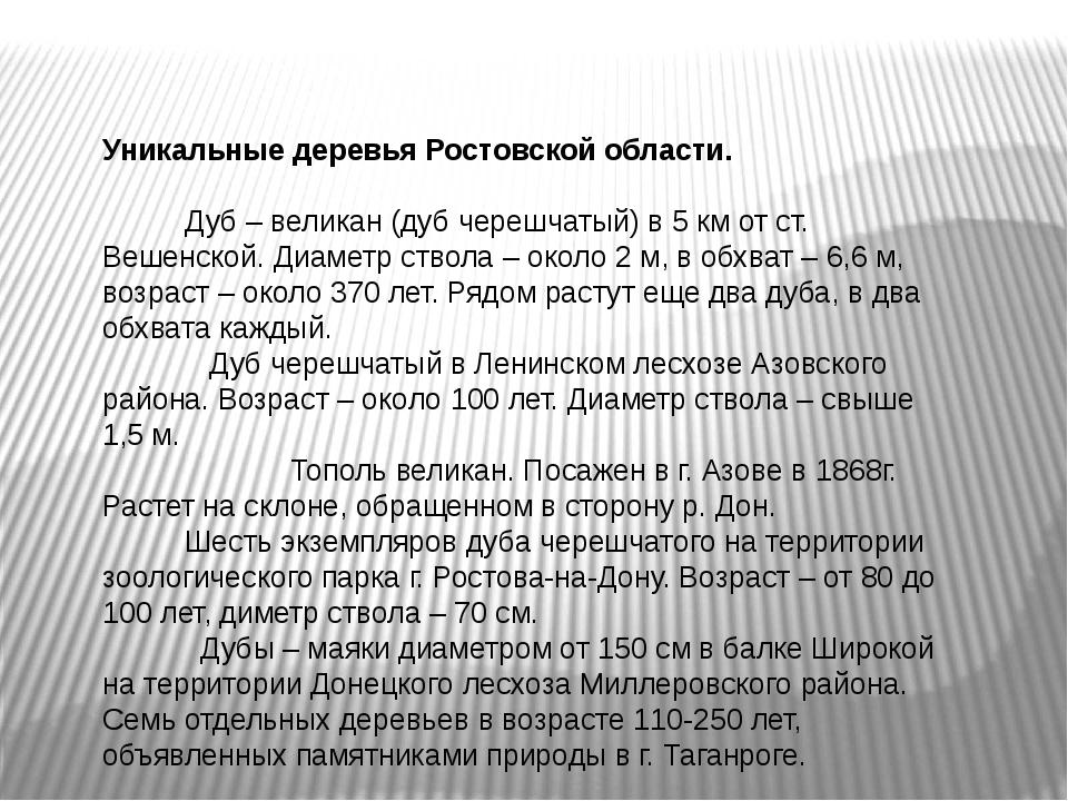 Уникальные деревья Ростовской области. Дуб – великан (дуб черешчатый) в 5 км...