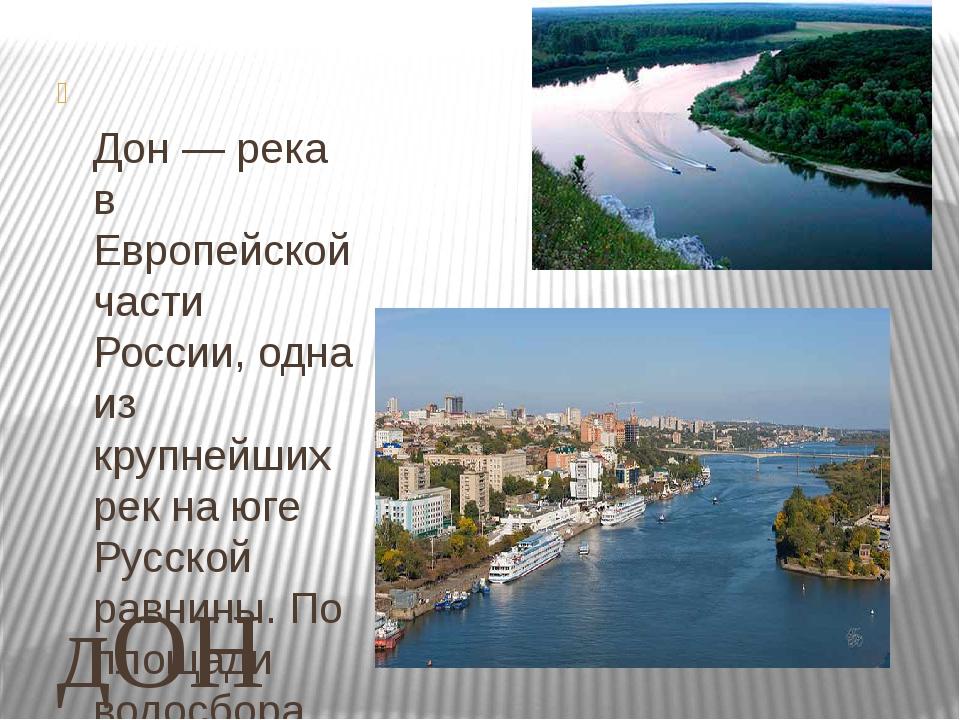 дОН Дон — река в Европейской части России, одна из крупнейших рек на юге Русс...