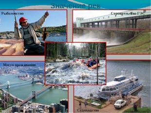 Значение рек Рыболовство Строительство ГЭС Речной туризм Судоходство Место пр