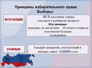 ВСЕОБЩИЕ РАВНЫЕ ВСЕ население страны участвует в выборном процессе. Исключени