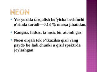 Yer yuzida tarqalish bo'yicha beshinchi o'rinda turadi—0,13 % massa jihatidan