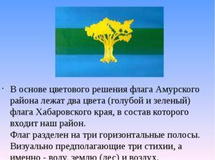 В основе цветового решения флага Амурского района лежат два цвета (голубой и