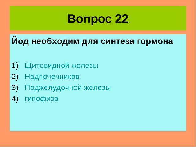 Вопрос 22 Йод необходим для синтеза гормона Щитовидной железы Надпочечников П...