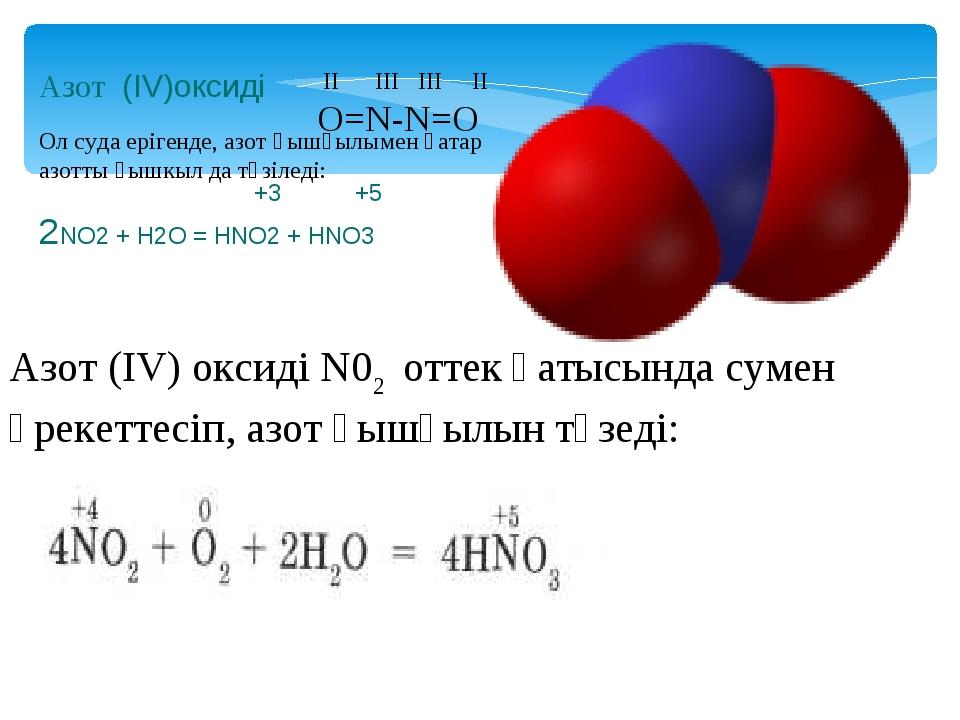 Азот (IV)оксиді +3 +5 2NO2 + H2O = HNO2 + HNO3 II III III II O=N-N=O Ол суда...