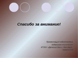 Спасибо за внимание! Презентация подготовлена педагогом-психологом КГОКУ «Д