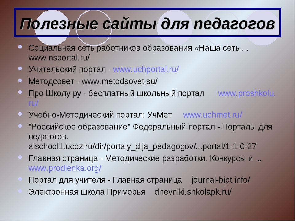 Полезные сайты для педагогов Социальная сеть работников образования «Наша сет...