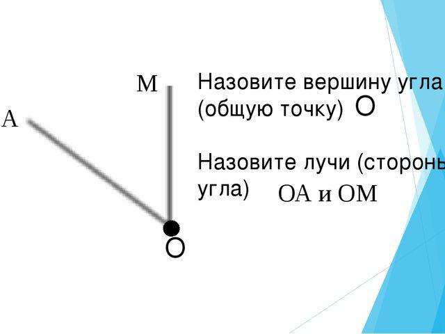 Назовите вершину угла (общую точку) Назовите лучи (стороны угла) О ОА и ОМ О...