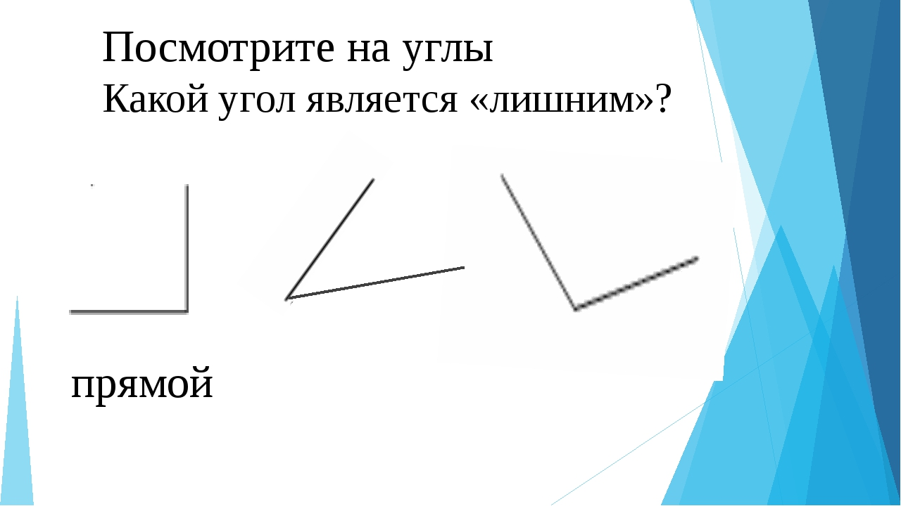 Посмотрите на углы Какой угол является «лишним»? прямой