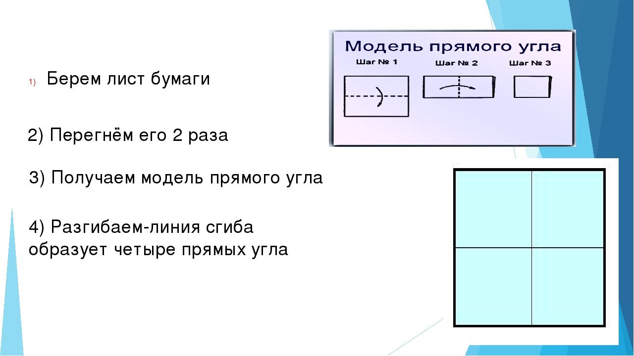 Берем лист бумаги 2) Перегнём его 2 раза 3) Получаем модель прямого угла 4) Р...