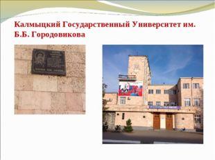 Калмыцкий Государственный Университет им. Б.Б. Городовикова