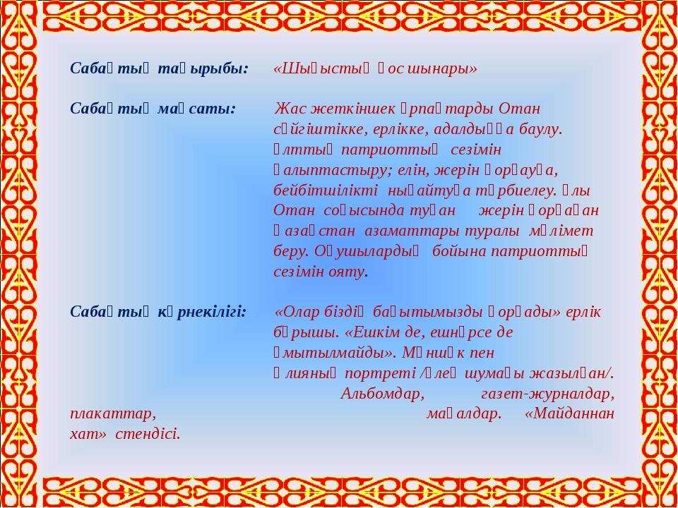 Сабақтың тақырыбы: «Шығыстың қос шынары» Сабақтың мақсаты: Жас жеткіншек ұр...