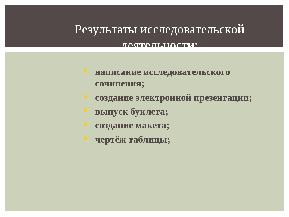 Результаты исследовательской деятельности: написание исследовательского сочин...