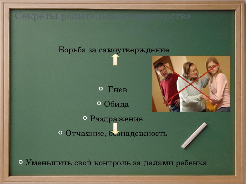 Секреты родительского мастерства Борьба за самоутверждение Гнев Обида Раздраж...
