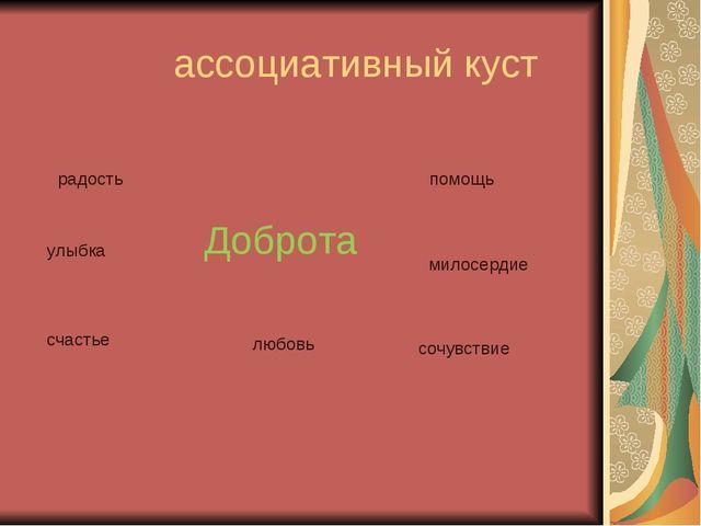 ассоциативный куст Доброта радость помощь милосердие улыбка счастье любовь с...