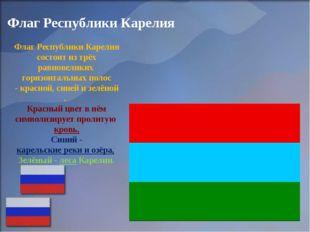 Флаг Республики Карелия ФлагРеспубликиКарелиясостоитизтрёх равновеликих