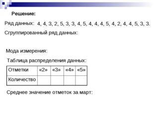 Ряд данных: Сгруппированный ряд данных: Мода измерения: Таблица распределения