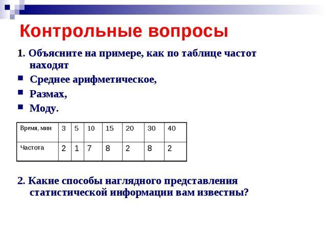 Контрольные вопросы 1. Объясните на примере, как по таблице частот находят Ср...